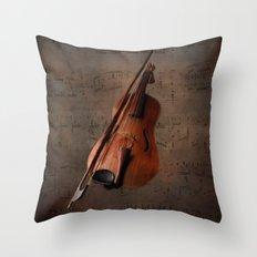 Painting Vintage Violin Throw Pillow