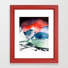 Mountains and Icebergs with Boat Framed Art Print