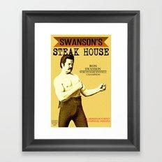 Ron Swanson     Steak House Parody    Parks and Recreation Framed Art Print