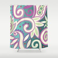 Summer leaves, soft pastels Shower Curtain