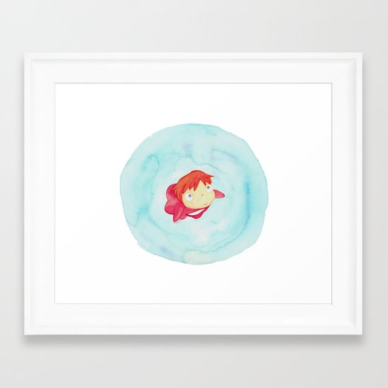 Ponyo Watercolor Framed Art Print