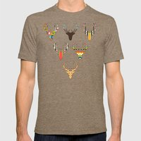 retro deer head white Mens Fitted Tee Tri-Coffee SMALL