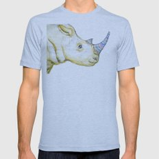 Striped Rhino Illustration Mens Fitted Tee Athletic Blue SMALL