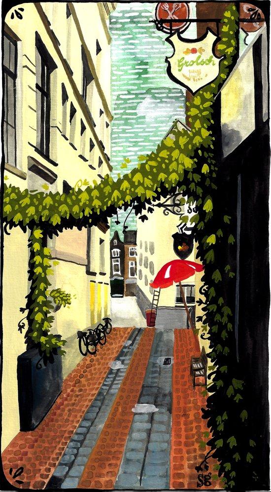 Red umbrella, Amsterdam Art Print