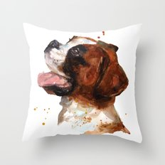 BOXER Dog painting, boxer dog print, dog breeds , cute puppy art Throw Pillow