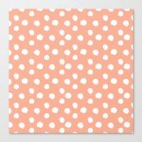 Brushy Dots Pattern - Orange Canvas Print