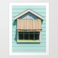 Summer cottage stripped canvas awning Art Print
