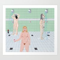Ladies in the The Showers Art Print