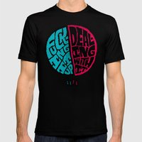 Half of life is fucking up Mens Fitted Tee Black SMALL