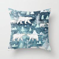 Ice Bears Throw Pillow