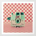 Mint Retro Camera on Red Chequered Background  Art Print
