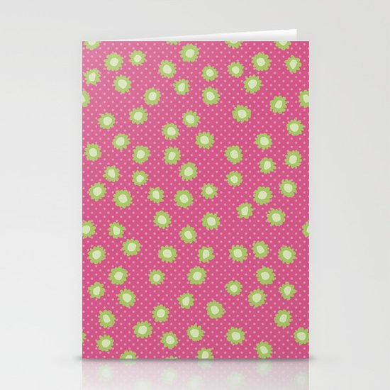 Pop Flowers florettes pink Stationery Card
