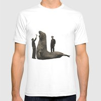 Elephant Seal Paris Parc Zoologique - Vintage / Antique French Post Card From the 1930's  Mens Fitted Tee White SMALL
