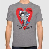 Shark To My Tornado Mens Fitted Tee Tri-Grey SMALL