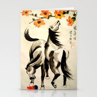 horses under floral tree Stationery Cards