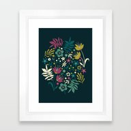 Midnight Florals (pop) Framed Art Print