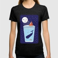 Full Waterglass Moon - Night Fishing Womens Fitted Tee Tri-Black SMALL