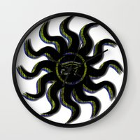 Yellow Egyptian Sun Wall Clock
