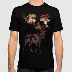 Spring Itself Deer Flower Floral Tshirt Floral Print Gift SMALL Black Mens Fitted Tee