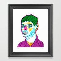 green hair Framed Art Print