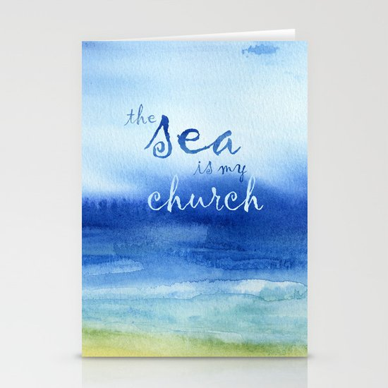 The Sea Is My Church (text) Stationery Card
