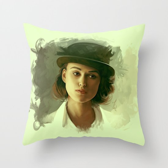 Keira Knightley in hat Throw Pillow