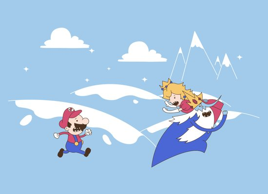 Mario's Adventure Time Art Print