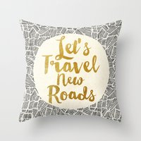 Let's Travel New Roads Throw Pillow