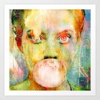 Bubble Gum  Girl Art Print