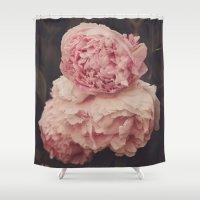 Pink Peony Trio Shower Curtain