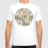 Soft Vintage Rose Patter… Mens Fitted Tee White SMALL