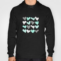 Mint white grey grunge hearts Hoody
