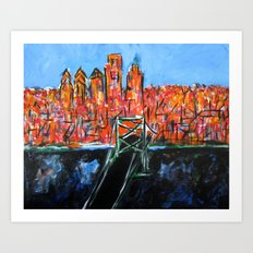 Philly Skyline view from NJ Art Print