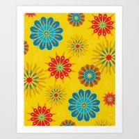 Psycho Flower Gold Art Print
