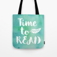 Time To Read - Green Tote Bag