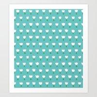 Spring Tulips - Blue Art Print