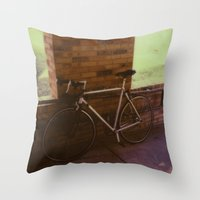 Bikes On Oak St Throw Pillow