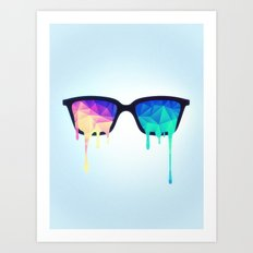Psychedelic Nerd Glasses with Melting LSD/Trippy Color Triangles Art Print
