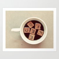 coffee Art Prints featuring COFFEE by elle moss