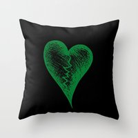 Green Heart Throw Pillow
