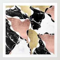 Modern White Black Marbl… Art Print