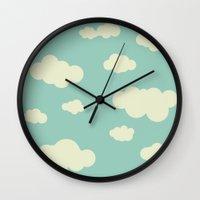 vintage clouds Wall Clock