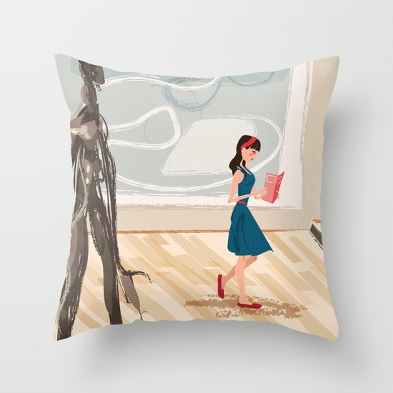 Pretty Girl at the Art Museum Throw Pillow