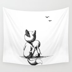 Fox and a rabbit Wall Tapestry