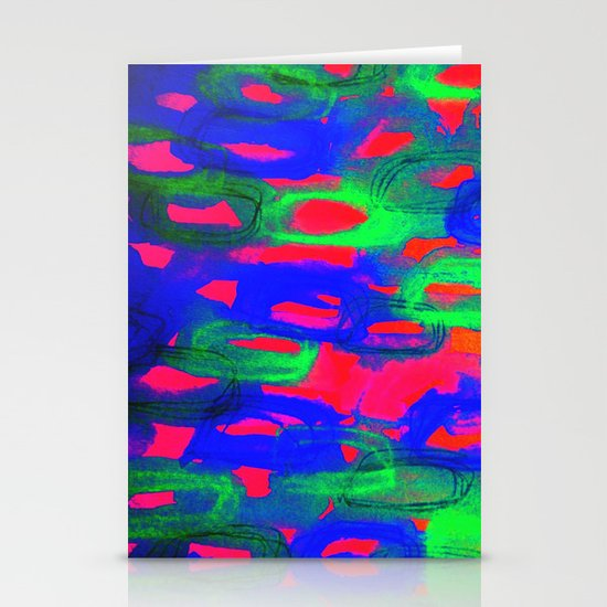 NIGHT LIFE - Bold Neon Abstract Watercolor Painting Wild Hot Pink Royal Blue Whimsical Pattern Stationery Card