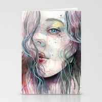 Sleepy violet, watercolor Stationery Cards