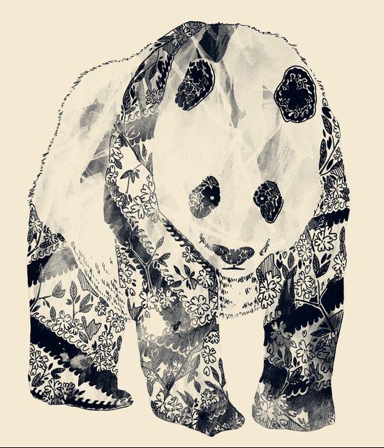 Tattooed Panda {cream} Canvas Print