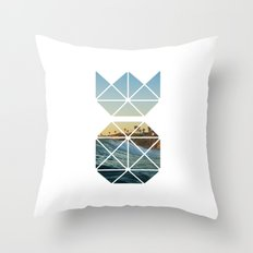 Tropical Waves in Pineapple Throw Pillow