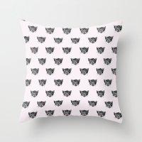 Polka Cat Throw Pillow