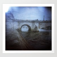 Paris Bridge & Seine Hol… Art Print
